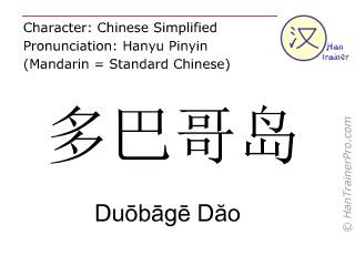Caractère chinois  ( Duobage Dao / Duōbāgē Dăo ) avec prononciation (traduction française: Tobago )