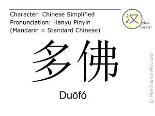Chinesische Schriftzeichen  ( Duofo / Duōfó ) mit Aussprache (Deutsche Bedeutung: Dover )