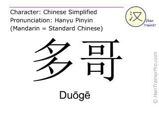 汉字  ( Duoge / Duōgē ) 包括发音 (英文翻译: Togo )