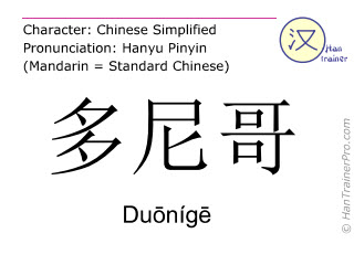 Chinese characters  ( Duonige / Duōnígē ) with pronunciation (English translation: Donegal )