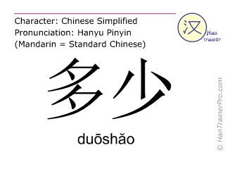 Caractère chinois  ( duoshao / duōshăo ) avec prononciation (traduction française: combien )