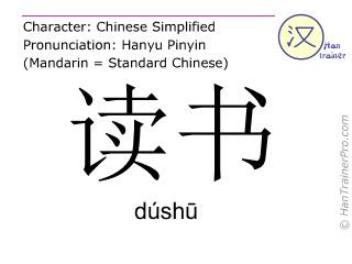 汉字  ( dushu / dúshū ) 包括发音 (英文翻译: to read )