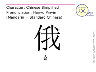 Chinese characters  ( e / é ) with pronunciation (English translation: Russian )