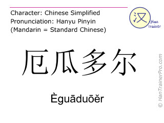 Chinese characters  ( Eguaduoer / Èguāduōĕr ) with pronunciation (English translation: Ecuador )