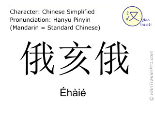 Chinese characters  ( Ehaie / Éhàié ) with pronunciation (English translation: Ohio )
