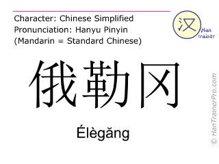 Chinese characters  ( Elegang / Élègăng ) with pronunciation (English translation: Oregon )