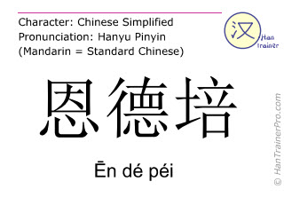 Chinese characters  ( En de pei / Ēn dé péi ) with pronunciation (English translation: Entebbe )