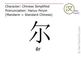 Chinese characters  ( er / &#277r ) with pronunciation (English translation: that )