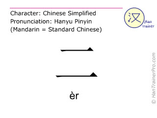Chinese characters  ( er / èr ) with pronunciation (English translation: two )