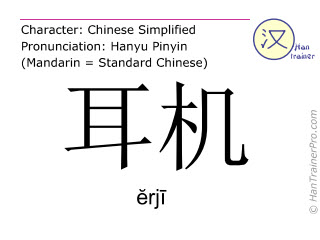 Chinese characters  ( erji / ĕrjī ) with pronunciation (English translation: earphone )