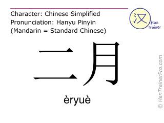 汉字  ( eryue / èryuè ) 包括发音 (英文翻译: February )