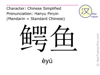 Chinese characters  ( eyu / èyú ) with pronunciation (English translation: crocodile )