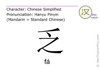 Chinese characters  ( fa / fá ) with pronunciation (English translation: to lack )