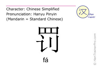 Chinese characters  ( fa / fá ) with pronunciation (English translation: to punish )