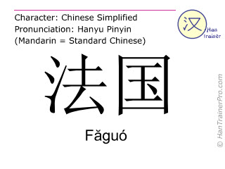 Chinese characters  ( Faguo / Făguó ) with pronunciation (English translation: France )