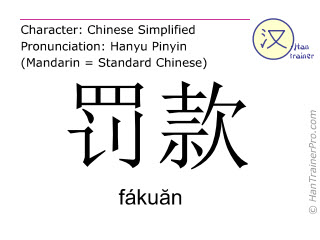Chinese characters  ( fakuan / fáku&#259n ) with pronunciation (English translation: fine )