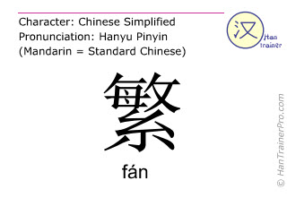 Chinese characters  ( fan / fán ) with pronunciation (English translation: complex )