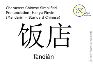 Chinese characters  ( fandian / fàndiàn ) with pronunciation (English translation: restaurant )