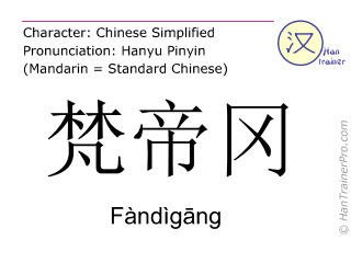 Chinese characters  ( Fandigang / Fàndìgāng ) with pronunciation (English translation: Vatican City State )