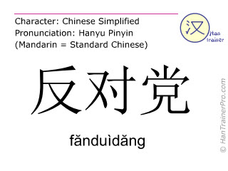 Chinese characters  ( fanduidang / f&#259nduìd&#259ng ) with pronunciation (English translation: opposition )
