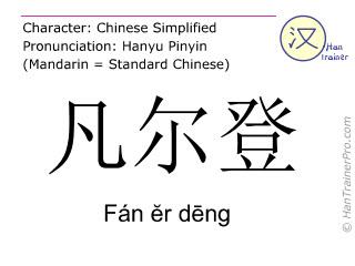 Chinese characters  ( Fan er deng / Fán &#277r d&#275ng ) with pronunciation (English translation: Verdun )
