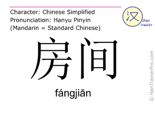 Chinese characters  ( fangjian / fángji&#257n ) with pronunciation (English translation: room )