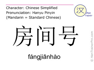 Chinese characters  ( fangjianhao / fángji&#257nhào ) with pronunciation (English translation: room number )