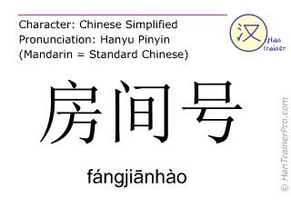 Caracteres chinos  ( fangjianhao / fángjiānhào ) con pronunciación (traducción española: número de habitación )
