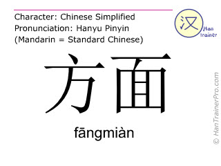 Chinese characters  ( fangmian / f&#257ngmiàn ) with pronunciation (English translation: side )