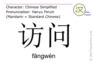 Chinese characters  ( fangwen / făngwèn ) with pronunciation (English translation: to visit )