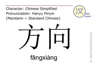 汉字  ( fangxiang / fāngxiàng ) 包括发音 (英文翻译: direction )