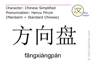 Chinese characters  ( fangxiangpan / f&#257ngxiàngpán ) with pronunciation (English translation: steering wheel )