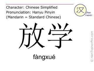 Caracteres chinos  ( fangxue / fàngxué ) con pronunciación (traducción española: después de la escuela )