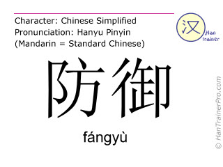Chinese characters  ( fangyu / fángyù ) with pronunciation (English translation: to defend )