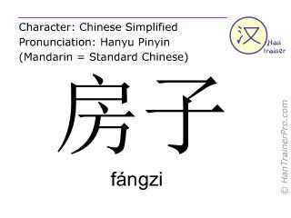 Caracteres chinos  ( fangzi / fāngzi ) con pronunciación (traducción española: casa )