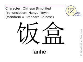 Caractère chinois  ( fanhe / fànhé ) avec prononciation (traduction française: boîte à déjeuner )