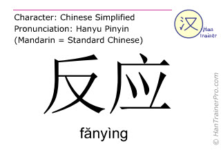 Chinese characters  ( fanying / fănyìng ) with pronunciation (English translation: to react )