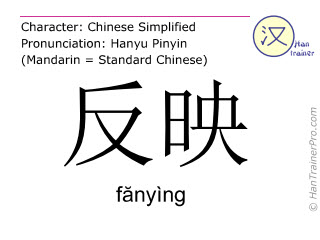 Chinese characters  ( fanying / f&#259nyìng ) with pronunciation (English translation: to reflect )