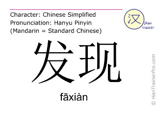 Chinese characters  ( faxian / f&#257xiàn ) with pronunciation (English translation: to find )