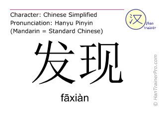 Chinesische Schriftzeichen  ( faxian / fāxiàn ) mit Aussprache (Deutsche Bedeutung: entdecken )
