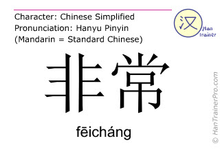 Chinese characters  ( feichang / fēicháng ) with pronunciation (English translation: extremely )