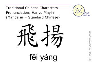 Chinesische Schriftzeichen  ( fei yang / fēi yáng ) mit Aussprache (Deutsche Bedeutung: Blase 58 )