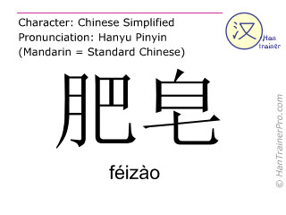Chinese characters  ( feizao / féizào ) with pronunciation (English translation: soap )
