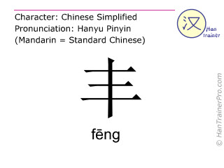 Chinese characters  ( feng / f&#275;ng ) with pronunciation (English translation: <m>vast</m> )