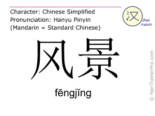Chinese characters  ( fengjing / f&#275ngj&#301ng ) with pronunciation (English translation: scenery )