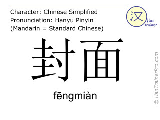 Chinese characters  ( fengmian / fēngmiàn ) with pronunciation (English translation: cover )