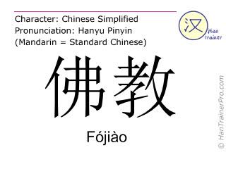 Chinesische Schriftzeichen  ( Fojiao / Fójiào ) mit Aussprache (Deutsche Bedeutung: Buddhismus )