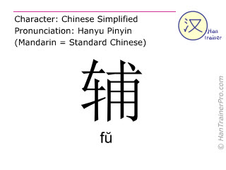 Chinese characters  ( fu / f&#365 ) with pronunciation (English translation: to assist )