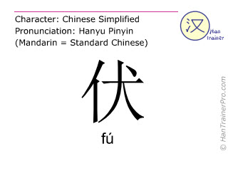 Chinese characters  ( fu / fú ) with pronunciation (English translation: to bend over )