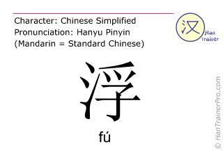 Chinesische Schriftzeichen  ( fu / fú ) mit Aussprache (Deutsche Bedeutung: auf etwas. treiben )